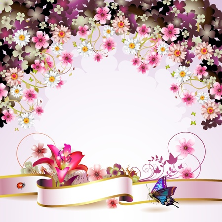 daisy flower: Background with flowers and butterflies  Illustration