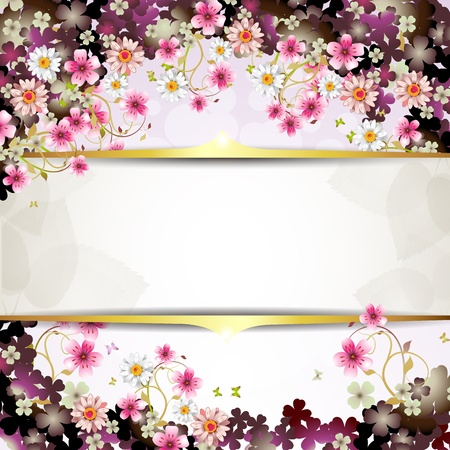 Background with flowers and butterflies  Stock Vector - 12410855