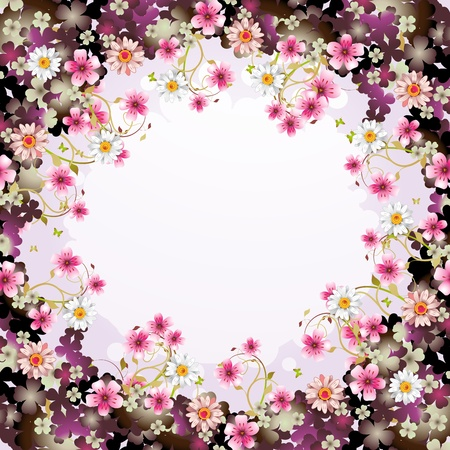 Background with flowers and butterflies Stock Vector - 12410854