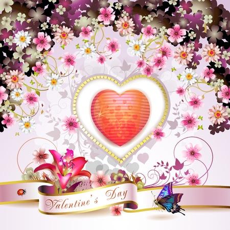 papillon rose: Carte de la Saint-Valentin s Illustration