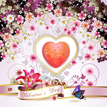 pink daisy: Valentine s day card