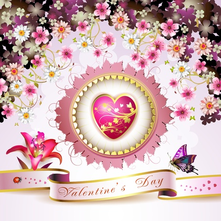gold heart: Valentine s day card