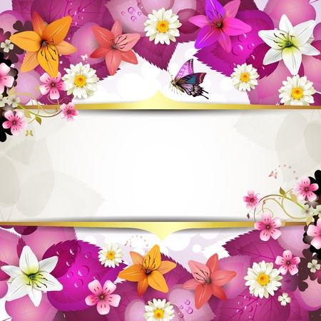 flower banner: Background with flowers and butterfliesred