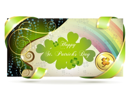 patric background: Banner with clover and coin for St. Patrick