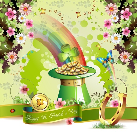St. Patrick s Day card design with clover and coins  Stock Vector - 12410882