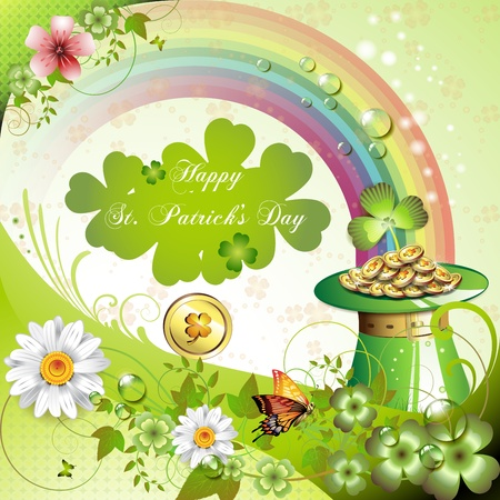 st patrick s day: St. Patrick s Day card design with clover and coins