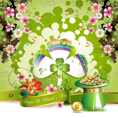 St. Patrick s Day card design with clover and coins Stock Vector - 12410885