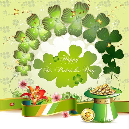 st patric: St. Patrick s Day card design with clover and coins