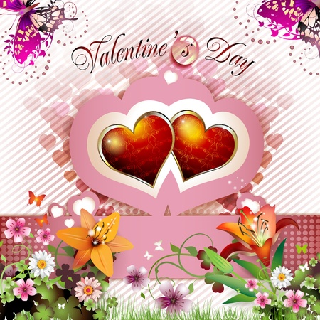 ambience: Valentine s day card with lily and butterflies