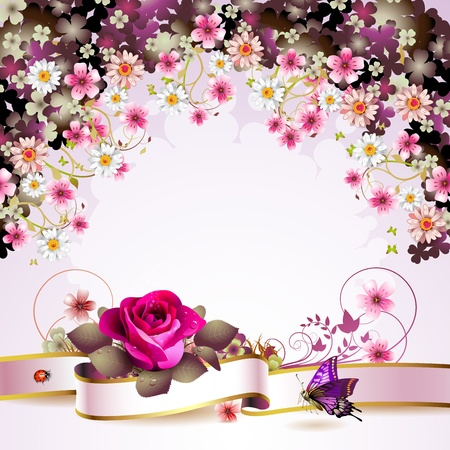 rose butterfly: Background with flowers and butterflies  Illustration