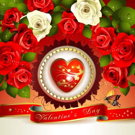 Valentine s day card with roses Stock Vector - 12774115