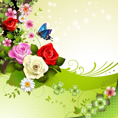 butterflies and flowers: Background with roses and butterflies  Illustration