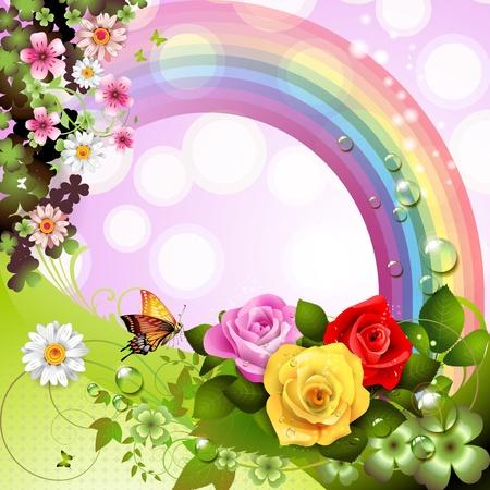 estrella de la vida: Primavera de fondo con flores y mariposas