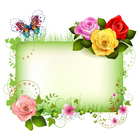 rose butterfly: Banner with flowers and butterflies