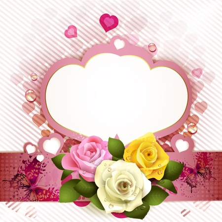 Background with butterflies, hearts and roses for Valentine s day Stock Vector - 12774124