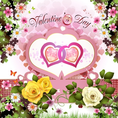 ambiance: Valentine s day card with roses and butterflies