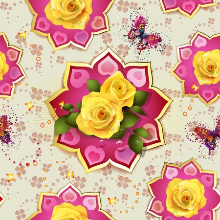 yellow heart: Seamless pattern with roses and butterflies for Valentin s day