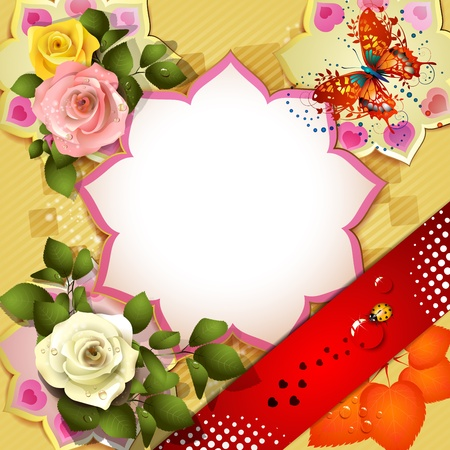 Background with butterflies and roses Stock Vector - 12774158