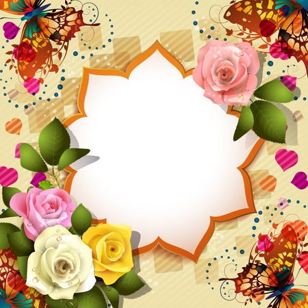 rose frame: Background with butterflies, hearts and roses for Valentine s day