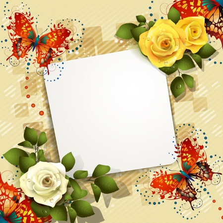 yellow rose: Background with butterflies, hearts and roses for Valentine s day