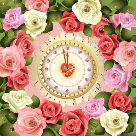 Clock design with Valentine s day theme and roses Illustration
