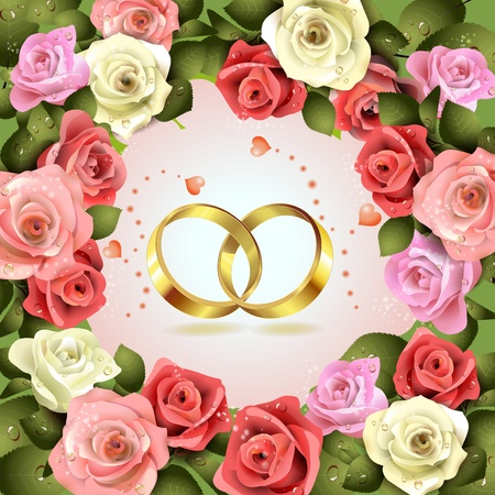 Two wedding rings with hearts and flowers   Vector