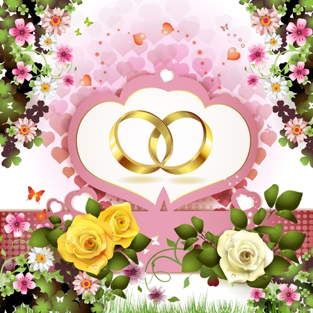 matrimony: Two wedding rings with hearts and flowers
