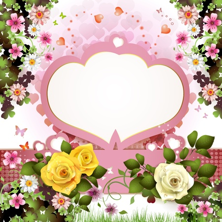 ambiance: Background with butterflies, hearts and roses for Valentine s day