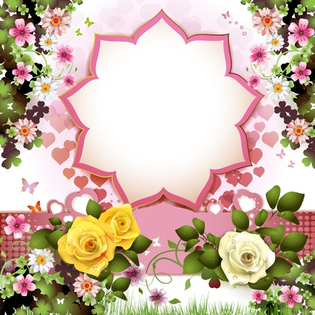Background with butterflies, hearts and roses for Valentine s day  Vector