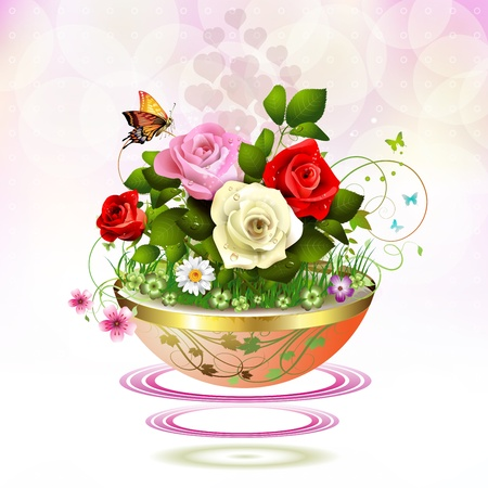 rose butterfly: Flowers in flowerpot with roses and butterflies Illustration