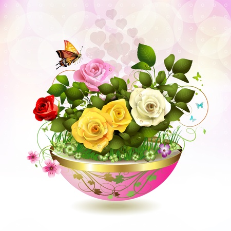 Flowers in flowerpot with roses and butterflies Stock Vector - 12774181