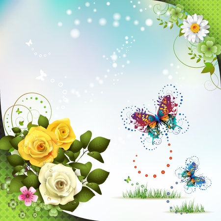 Springtime with flowers and butterflies  Vector