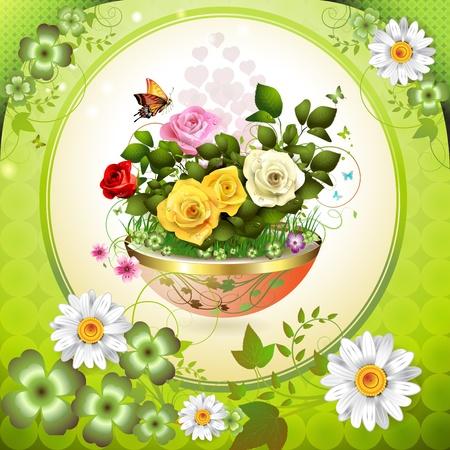 Flores en maceta con rosas y mariposas Foto de archivo - 12774246