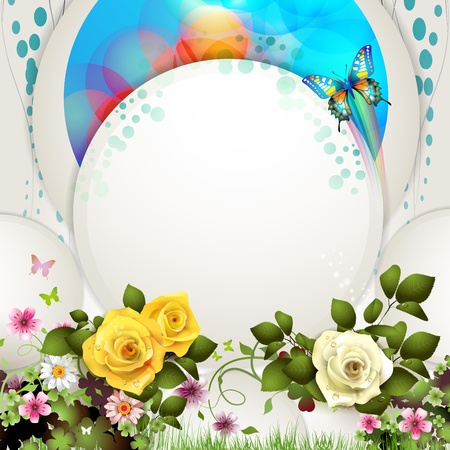 yellow rose: Background with butterflies and roses Illustration