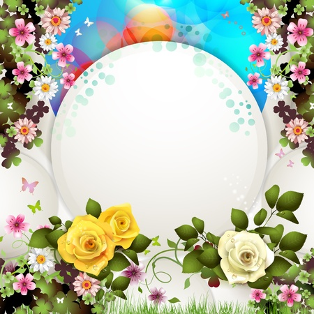 Background with butterflies and roses Stock Vector - 12774236
