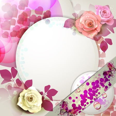 Background with roses and butterflies  Vector