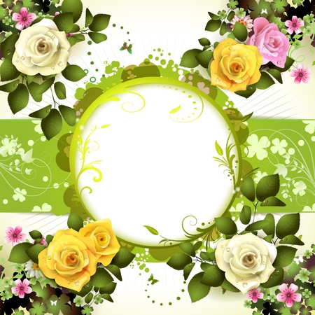 yellow rose: Springtime background with flowers and butterflies