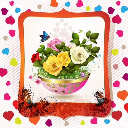 Flowerpot with roses, hearts and butterflies  Vector