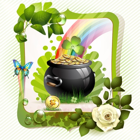 St  Patrick s Day card design with clover and coins  Vector