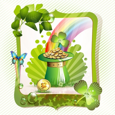 St  Patrick s Day card design with hat and coins Stock Vector - 12770611