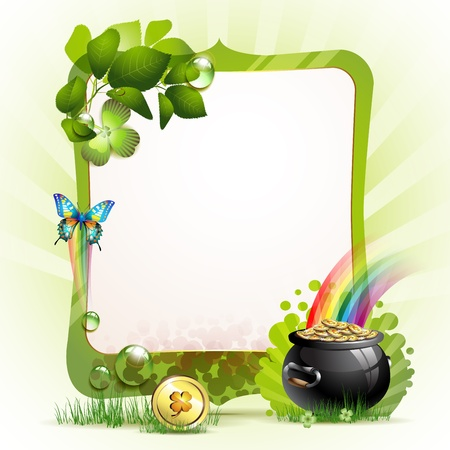 patric: Mirror frame for St  Patrick s Day with clover and coins  Illustration