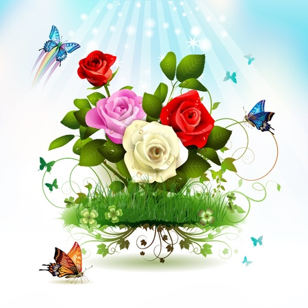 Roses on grass with butterflies  Vector