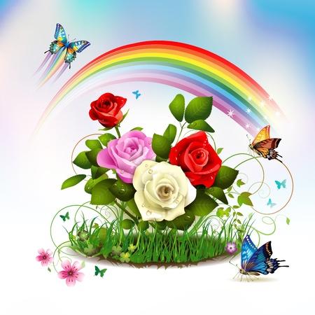 Rosen auf Gras mit Schmetterlingen und Regenbogen