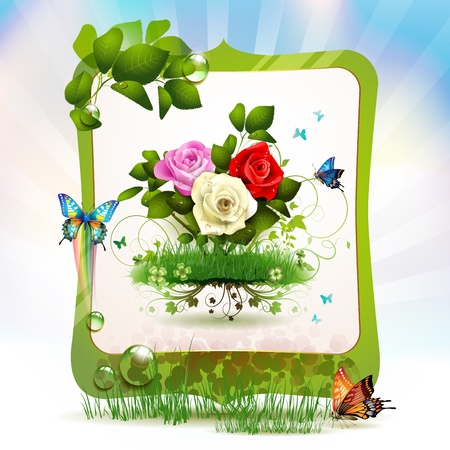 ambiance: Mirror frame with roses and butterflies  Illustration