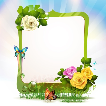 yellow rose: Mirror frame with roses and butterflies  Illustration