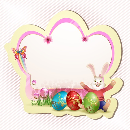 Easter card with red eggs and bunny  Vector