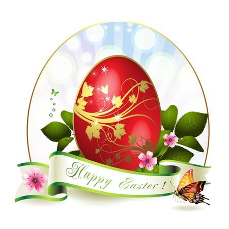 Easter card with red egg and butterfly  Stock Vector - 12774250