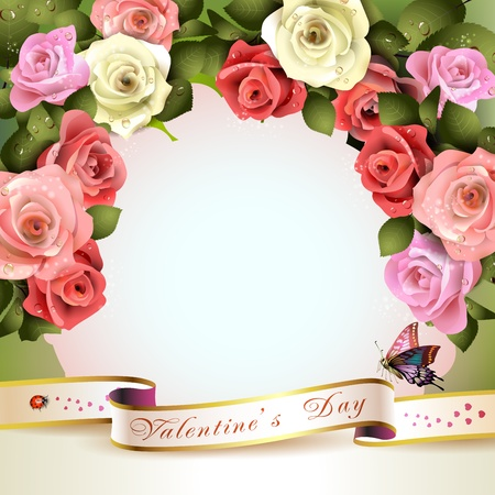 pink ribbons: Floral background with white and pink roses