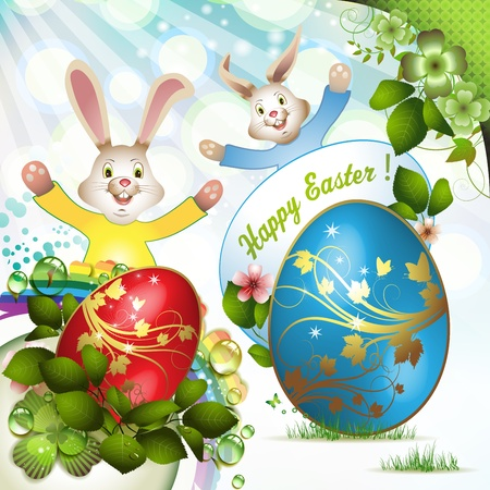 Easter card with bunny  Stock Vector - 12774310