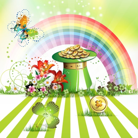 patric: St  Patrick s Day card design with hat and coins